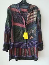Etro Striped Button-Front Tunic Blouse, Purple/Red Original:$975 Size 46IT/12US