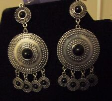 new antique silver tone Aztec inspired dangle shield disks fashion earrings