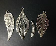 4 SILVER METAL FEATHER CHARM CARD MAKING CRAFT JEWELLERY MAKING EMBELLISHMENTS