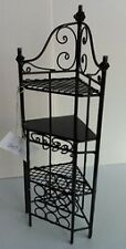 Ornate Black Wire Corner Unit With Bottle Rack, Dolls House Miniature