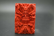 Cool~Red Cinnabar Carved Chinese Dragon Play Ball Pendant DIY Necklace making