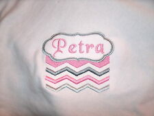 Personalized Baby Infant Toddler Blanket Cute Pink & Gray Chevron Stripes
