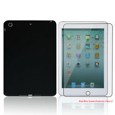 Black S-Shape TPU Rubber Case + Free Clear Screen Cover for Apple® iPad® Mini