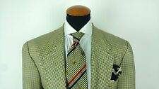 ERMENEGILDO ZEGNA Soft Mens Blazer Size 42R Jacket Wool Silk Houndstooth Patches