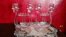 2 Double Candle Holders VTG Crystal Clear Glass Harp Lyre Irish Fostoria Boopie