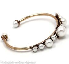 WHITE PEARL BEADED Crystal Rhinestone Gold Designer Cuff Bangle Flower Bracelet