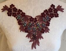 "11 1/2"" BEAD & SEQUIN Neckline Applique - MERLOT PURPLE"