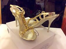 NEW IN BOX-SPOT ON Gold With Gold/Diamanté Gem High Stiletto Sandals Size 7