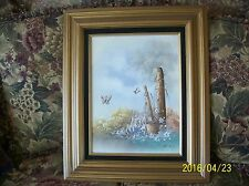 Butterflies In A Field Of Wild Flowers Painting Oil On Canvas Signed Framed