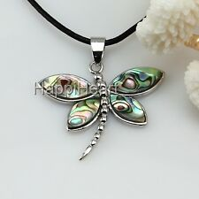 Beautiful Abalone Dragonfly Pendant Necklace