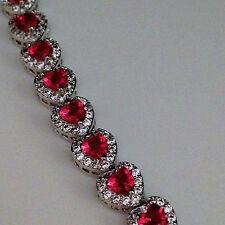 """New 925 Sterling Silver 61.5ct Red Topaz White Topaz 7"""" Heart Tennis Bracelet"""