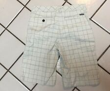 QUIKSILVER ivory Gray Windowpane Plaid Casual Shorts Mens Size 28
