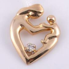 14K Yellow Gold Kid Mother and Child Loving Mom and Baby Charm Diamond Pendant