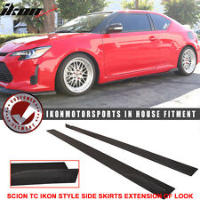 2011-2016 Scion TC IKON Style Side Skirt Extension Flat Bottom Line Lip PU