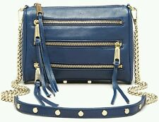 NWT $195 Rebecca Minkoff Mini 5 Zip Navy Blue Gold Hardware Chain link Clutch