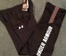 NWT Under Armour Boys L Black/Dark Gray/White Loose Fit Knit Pants YLG