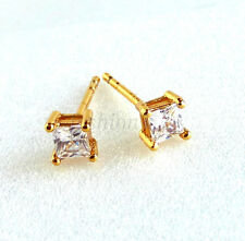 Men Girl Square Stud Earrings 24K Yellow Gold Plated 4mm Small Simulated Diamond
