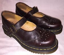 UK Size 5 USA Womens 7 DR. MARTENS 1B66 Buckle Mary Janes Loafers Brown Shoes