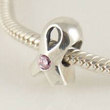 PINK CANCER RIBBON genuine 925 sterling silver charm bead fits european bracelet