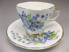 Vintage Royal Windsor Demi Tea Cup Saucer Set Blue Flowers Bone China Gilded