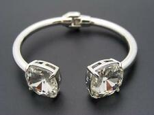 $38 Cara Accessories Cuff Hinged Bracelet Clear Faceted Crystal Silvertone Metal