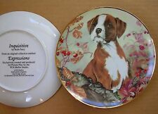 "BOXER - INQUISITEVE BY RUTH PARRY - 8.2"" PORCELAIN DOG PLATE - W.N.MELLOR STUDIO"