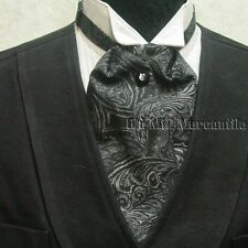 ascot wedding sass old west world style tie black gray made in USA