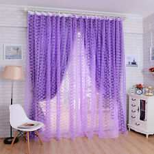 Rose Pattern Room Window Divider Voile Organdy Sheer Drape Curtain Purple