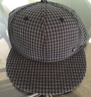 Mens One Size Fits Most Snap Back Baseball Cap Hat Black And Grey Checkered New