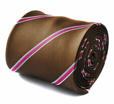 Brown and Pink Striped Mens Pole Dancing Tie by Frederick Thomas FT724
