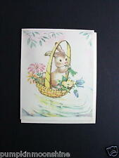 #G768- Vintage Unused Easter Greeting Card Sweet Bunny in Basket with Green Horn