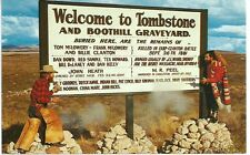 Welcome to Tombstone and Boothill Graveyard Vintage Postcard 1940s-50s