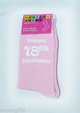 Happy 18th Birthday Printed Design Ladies Pink Socks Great 18th Birthday Gift