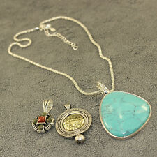 Premier Designs Silver Chain Turquoise Pendant Necklace And Enhancer Jewelry