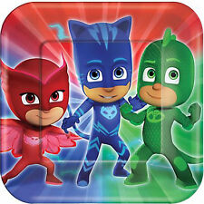 PJ MASKS LARGE PAPER PLATES (8) ~ Birthday Party Supplies Luncheon Dinner Disney