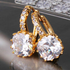24ct Gold Filled Crystal Princess Hoop Earrings RRP £60 simulated Diamond yellow