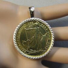 9ct gold New celtic pendant that will fit a one Oz gold bullion britannia coin