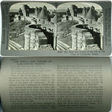 Keystone Stereoview Walls & Towers of Carcassone FRANCE From 600/1200 Card Set