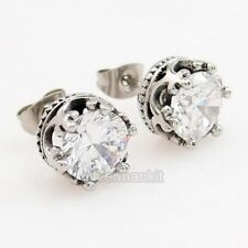 Men's Women's Crown Round CZ 316L Stainless Steel Stud Earrings SE52