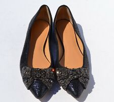 Tory Burch Vanessa Crystal Bow Pointed Toe Flats Size 7.5