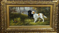 T.CASSELORIGINAL OIL ON BOARD OF HUNTING DOG WITH CATCHED PHEASANT,SIGNED