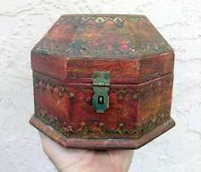 Old Antique Wood Wooden Hand Painted Vintage Painted Octangonal Box