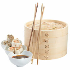 VonShef 2 Tier 8'' Bamboo Steamer with 2 Free Chopstick Pairs