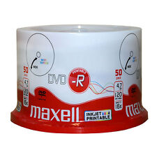50 x Maxell DVD-R Inkjet Printable White Surface 16x 4.7GB 120Min - Spindle Pack