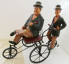 LAUREL AND HARDY Vtg Figures Statues on Wrought Iron Bicycle/Bike/Tricycle RARE