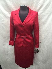 KASPER SKIRT SUIT/SIZE 16W/LINED/NEW WITH TAG/RETAIL$280/RED/BROCADE