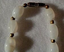 Vintage Opalescent Glass Bead Necklace - Art Deco Jewelry - Opal - Brass Closure