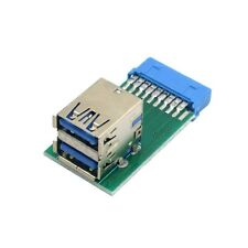 Vertical Dual USB3.0 A Type Female to Motherboard 20 Pin Box Header Slot Adapter