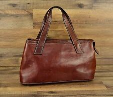 Fossil Tobacco Brown Leather Small Footed Shoulder Bag or Hand Bag Top stitched