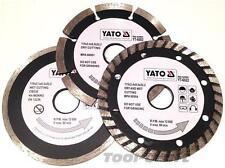 YATO Professional Diamond DISC Blade set 3 pcs 115 mm TURBO SEGMENTI TILE CUTTER